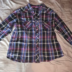 Rough Stock Pink & Purple Long Sleeve Button up